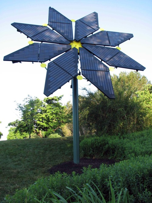 "Our demonstration solar ""flower"" in Longwood's Idea Garden"